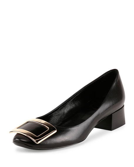 Roger Vivier Belle de Nuit Leather Buckle Low-Heel