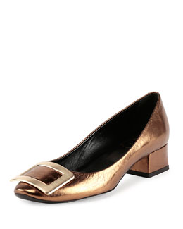 Belle de Nuit Metallic Leather Buckle Low-Heel Pump, Bronze