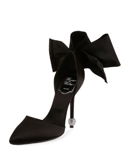 Satin Bow d'Orsay Crystal Sphere Pump