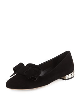 Bow-Detail Jewel-Heel Loafer, Black