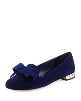 Bow-Detail Jewel-Heel Loafer, Navy