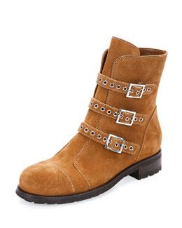 Dover Suede Triple-Buckle Boot, Cinnamon