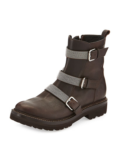 Leather Triple-Strap Moto Boot, Black