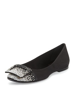 Ballerine Degrade Strass Crystal Flat, Black