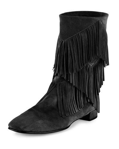 Prismick Suede Fringe Mid-Calf Boot, Black
