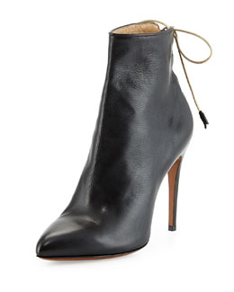 Marion Laced-Back Leather Bootie
