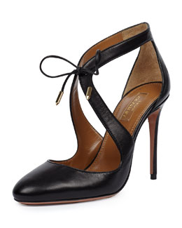 Stella Curvy-Strap Napa Sandal, Black