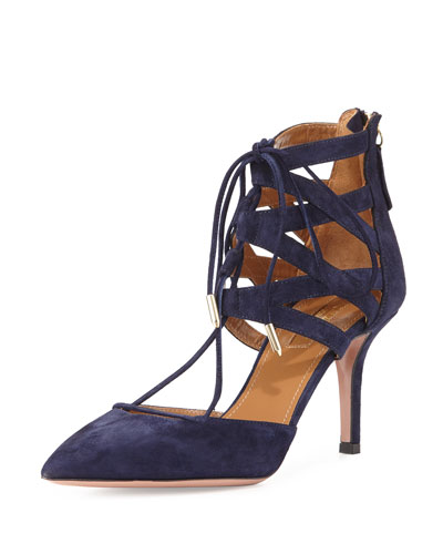 Belgravia 75 Suede Caged Pump, Navy