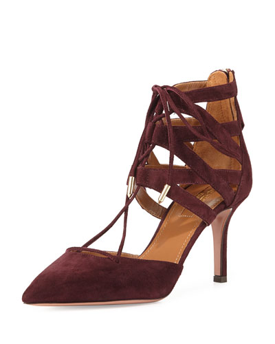 Belgravia 75 Suede Caged Pump, Prune