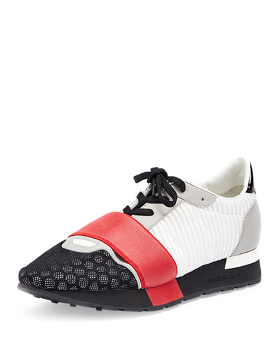 Striped Lace-Up Sneaker, Red