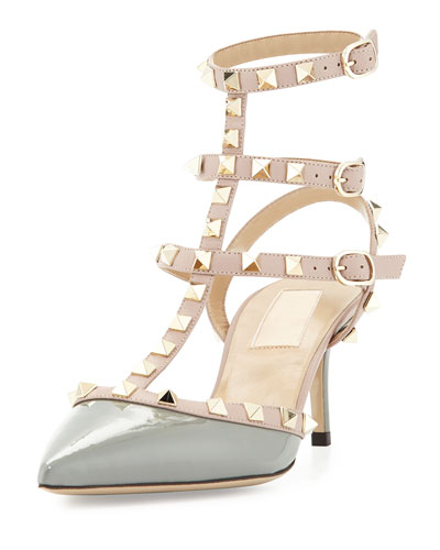 Rockstud Colorblock Leather Mid-Heel Sandal, Pebble