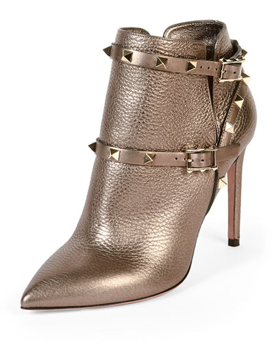 Rockstud Metallic Ankle Bootie, Stone