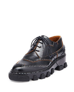 Staple-Trim Calfskin Derby Oxford, Black