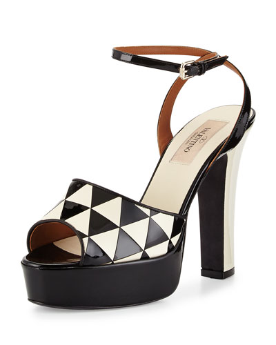 Shiny Fever Ankle-Wrap Sandal, Black/ivory