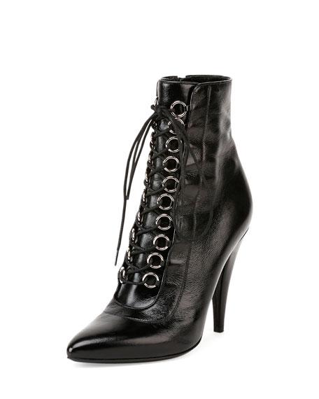 198697ef96b Saint Laurent Fetish Leather Lace-Up Bootie, Black