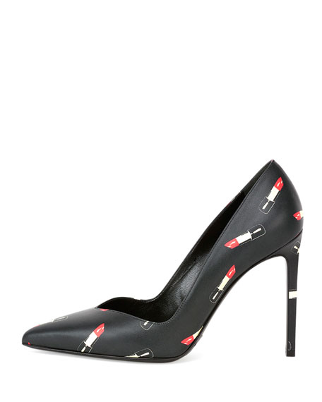 Lipstick-Print Leather Point-Toe Pump, Black/Red