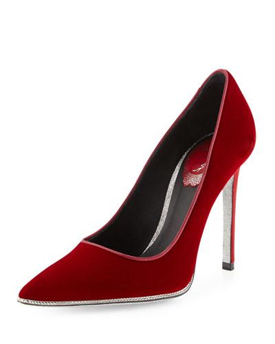 Velvet Strass Crystal Point-Toe Pump, Red