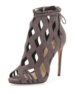Loretta Wave-Caged Laced-Ankle Bootie, Grafite