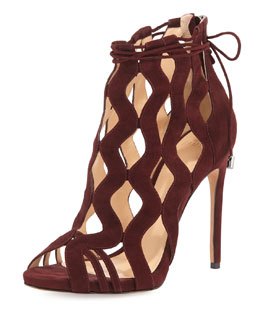 Loretta Wave-Caged Laced-Ankle Bootie