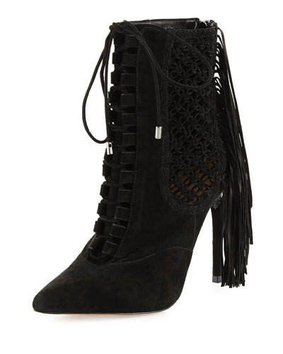 Katys Woven Fringe-Detailed Lace-Up Bootie