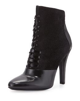 Harleth Suede & Leather Lace-Up Bootie