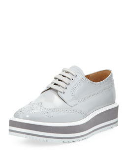 Platform Brogue-Trim Leather Oxford, Crystal (Cristalo)