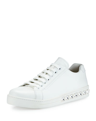 Sneaker w/ Embellished Outsole, White