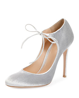 Velvet Tie-Front Mary Jane Pump