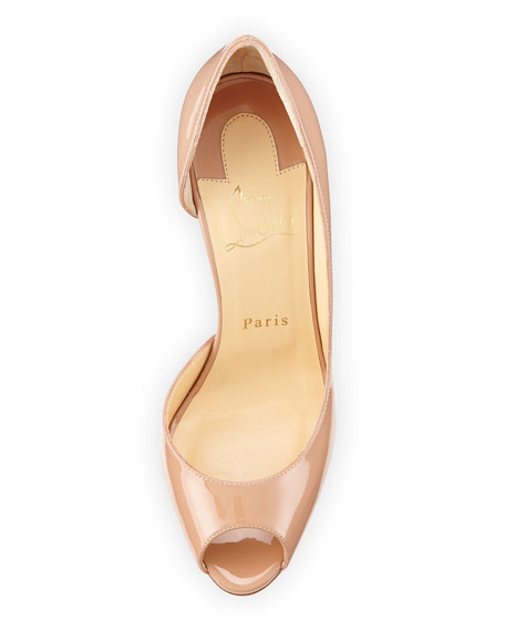 Demi You Half d'Orsay Peep-Toe Red Sole Pump, Nude