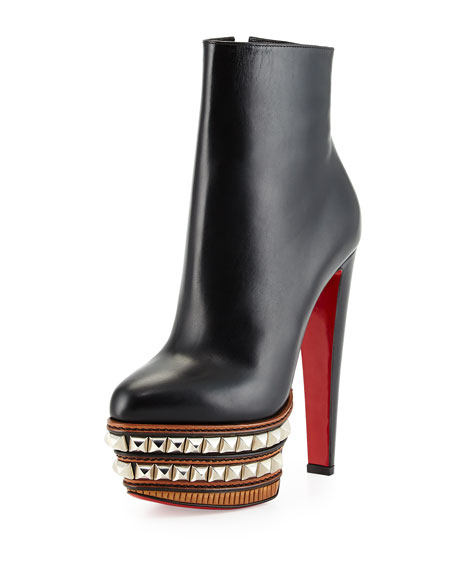 mens replica shoes - Christian Louboutin Faolo Pyramid Stud Plaform Red Sole Bootie