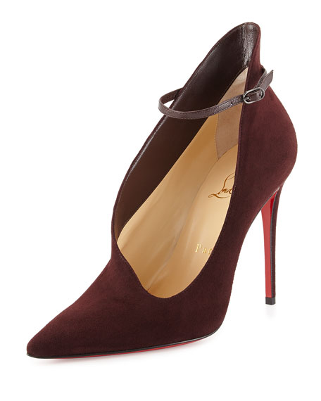 0a538d4e8e7e Christian Louboutin Vampydoly Suede Ankle-Wrap Red Sole Half-Bootie