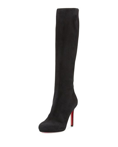 Botalili Suede Round-Toe Red Sole Knee Boot