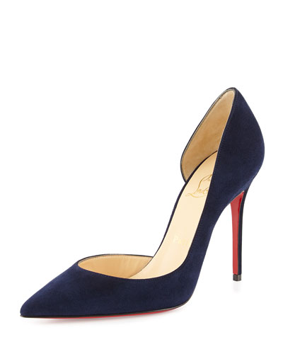 Iriza Half d'Orsay Suede Red Sole Pump