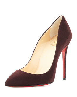 Pigalle Follies Suede Point-Toe Red Sole Pump, Wine