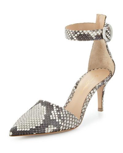 Python d'Orsay Ankle-Wrap Pump, Roccia