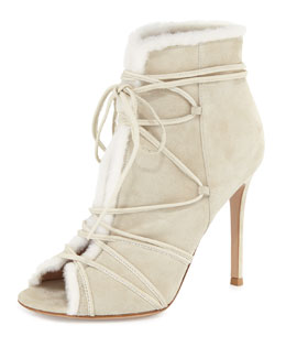 Shearling Fur-Trimmed Lace-Up Peep-Toe Bootie