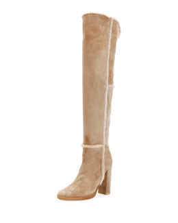 Shearling Fur-Trimmed Suede Over-The-Knee Boot