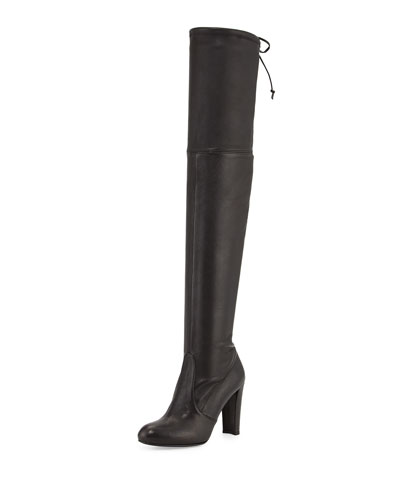 Highland Stretch-Napa Over-the-Knee Boot, Black