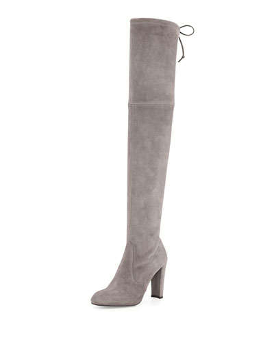 Highland Stretch-Suede Over-the-Knee Boot, Praline
