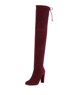 Highland Stretch-Suede Over-the-Knee Boot, Bordeaux