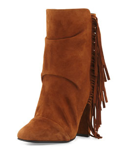 Alabama Pleated Suede Fringe Bootie