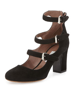Ginger Triple-Buckled Suede Pump
