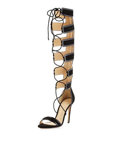 Caryne Crocodile-Trimmed Suede Gladiator Sandal