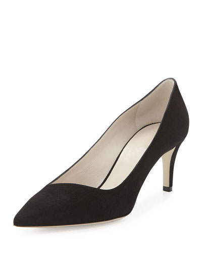 Asymmetric Point-Toe Suede Pump