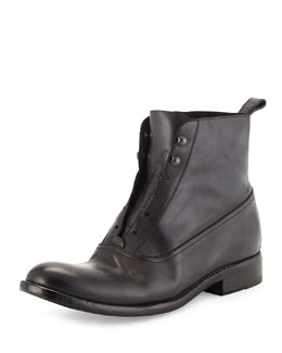 Open-Front Leather Combat Boots