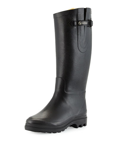 Aiglentine Faux-Fur Riding Rainboot