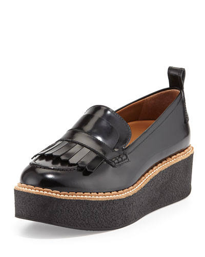 Wellington Leather Fringe Platform Loafer