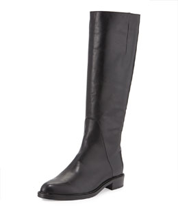 Gaia Almond-Toe Leather Knee Boot