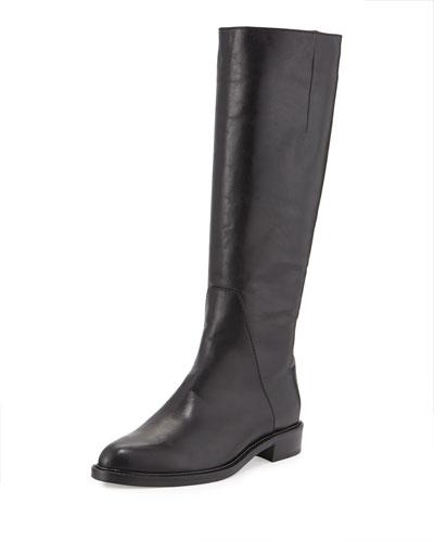 Gaia Almond-Toe Leather Knee Boot