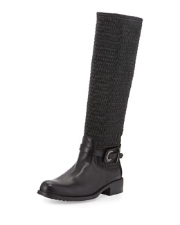 Ully Smocked Leather Stretch Knee Boots